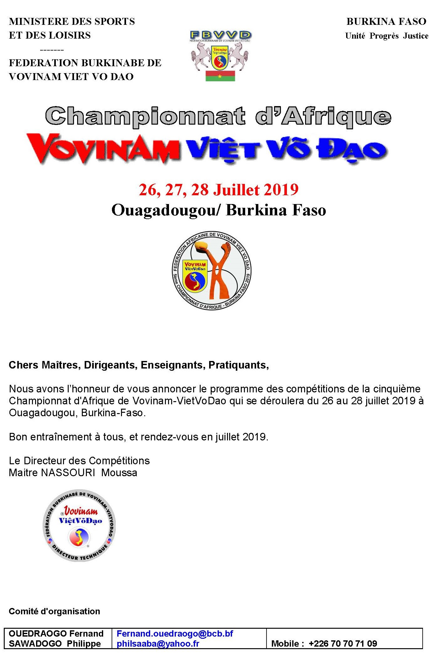 programme de competition coupe dafrique 2019 2